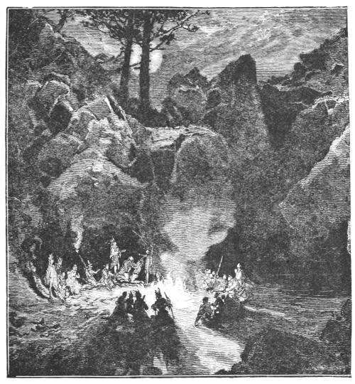A Ute council fire, from the book The Crest of the Continent, by Ernest Ingersoll (1887)